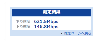 eo光10G_WIFIの実測、下り速度 621.5Mbps、上り速度 146.8Mbps